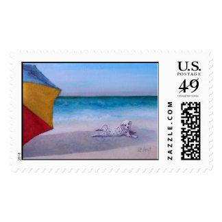 "postage ""Dalmatian Sunbather Beach"""