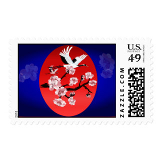 Postage-Flying Crane and Sun-(midnight blue backgr Stamps