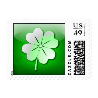 Postage glossy green quatrefoil, St. Patrick's Day