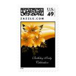Postage Gold Black Floral Postage Stamps