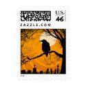 Postage -Halloween Raven by Graveyard - Orange stamp