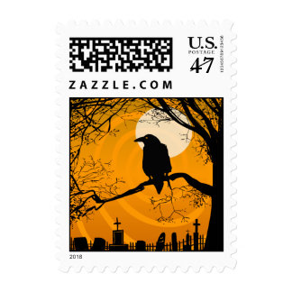 Postage -Halloween Raven by Graveyard - Orange