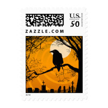 Postage -Halloween Raven by Graveyard - Orange