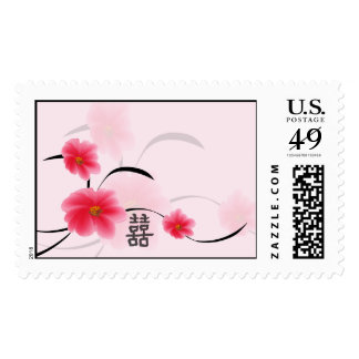 Postage Large Pink Blossom Double Happiness