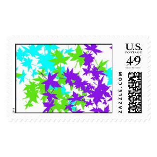 Postage Leaves,turquoise,violet