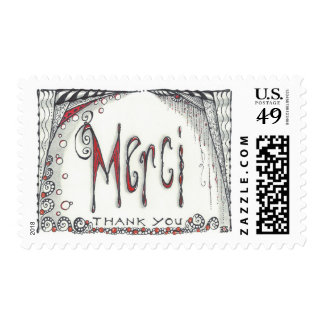 "Postage ""Merci"" size med $0.49 (1st Class 1oz)"