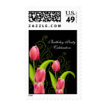 Postage Peach Pink Flowers Black Postage Stamps
