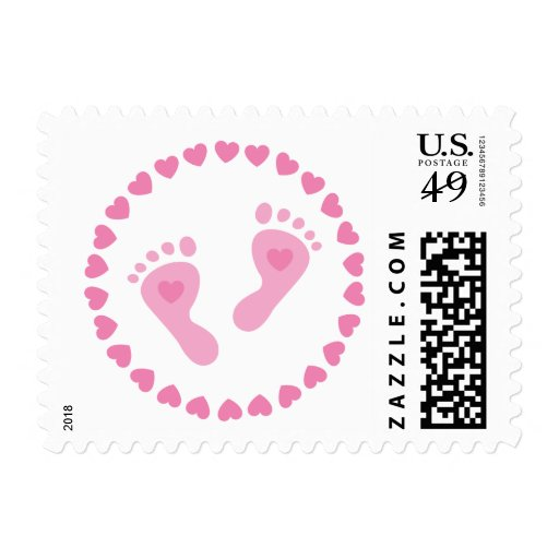 Postage: Pink babyfeet in a circle of hearts
