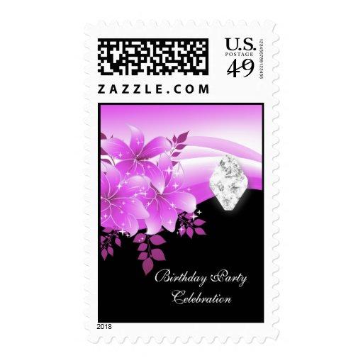 Postage Pink Black Floral Diamond Jewel Postage Stamps
