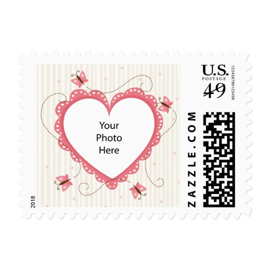 Postage: Pink lace heart photo frame Postage