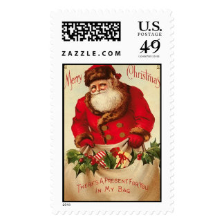 Postage-Santa with Bag of Gifts
