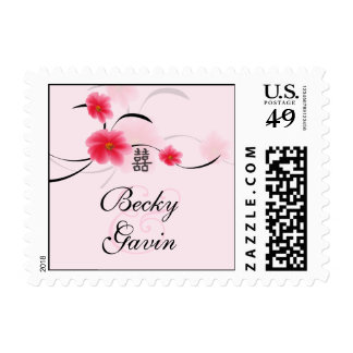Postage Small Pink Blossom Double Happiness