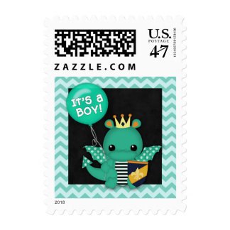 Postage Stamp Baby Shower Sparky Dragon It's a boy