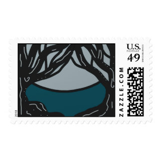 Postage Stamp Black Trees With Moon