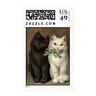 postage stamp black white cat cats