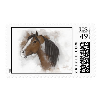 Postage Stamp - Brown & White Horse Head