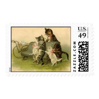 postage stamp cat baby pram park bench
