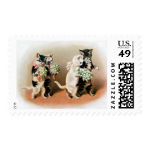 postage stamp cat bridal party wedding