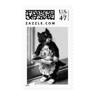 postage stamp cat maid with spilt milk on tray