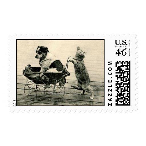 postage stamp cat pushes dog in vintage pram