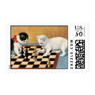 postage stamp cats chess players