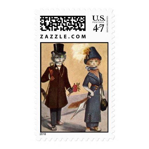postage stamp cats gentleman & lady