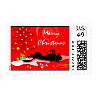 Postage Stamp Christmas Black Lab