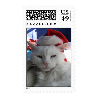 postage stamp Christmas cat