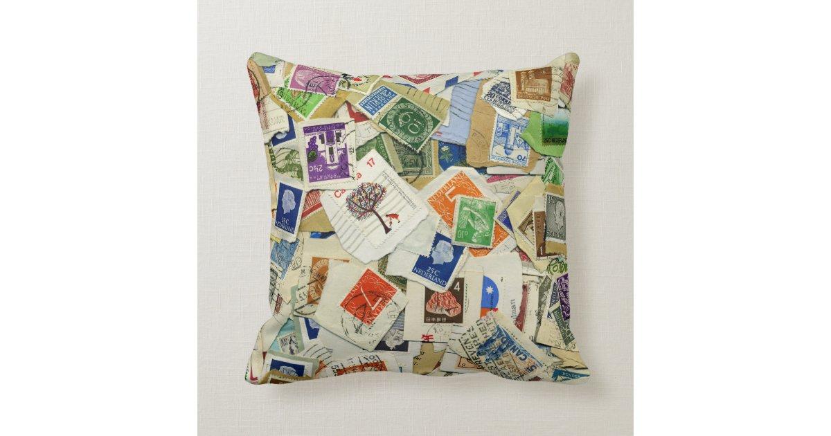 Postage Stamp Collage Travel Throw Pillow Zazzle