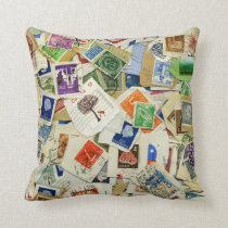 Postage Stamp Collage Travel Throw Pillow