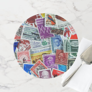 postage stamp collection cake stand