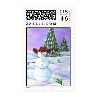 Postage Stamp Cowboy Christmas Snowman