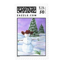 Postage Stamp Cowboy Christmas Snowman