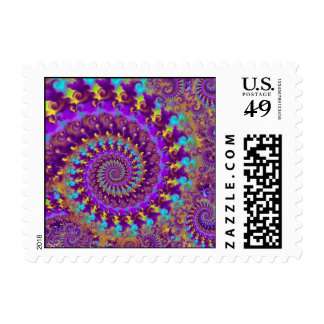 Postage Stamp - Crazy Fractal Purple terquoise yel