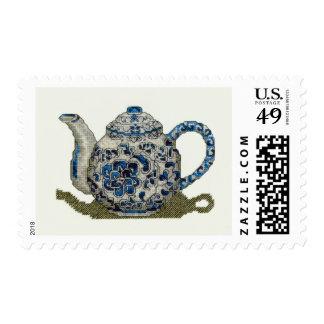 postage stamp cross stitch teapot blue pattern