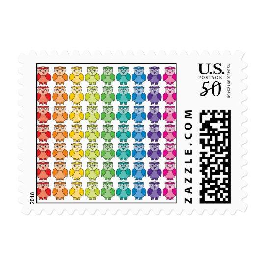 Postage Stamp - Cute Rainbow Owl Pattern