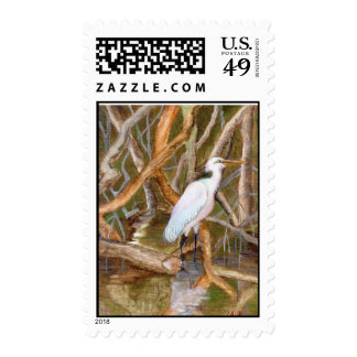 Postage Stamp - Egret in Mangrove Swamp
