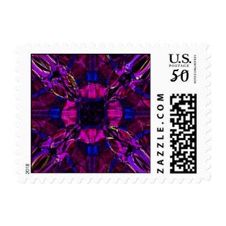 Postage Stamp - Fractal Pattern purple