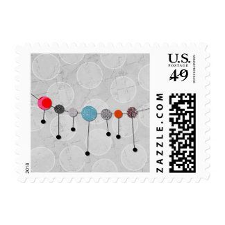 Postage Stamp Fun Colorful Banner and Circles
