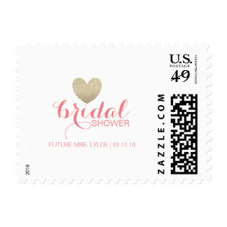 Postage Stamp | Glitter Heart Bridal Name