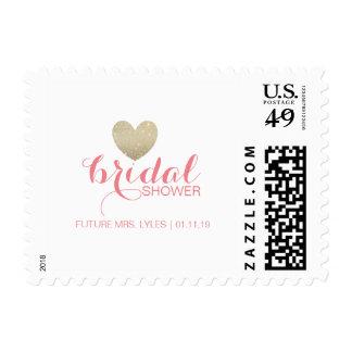 Postage Stamp | Glitter Heart Bridal Name