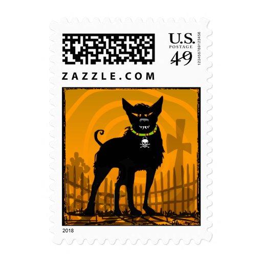 Postage Stamp - Halloween Scary Evil Dog ORange