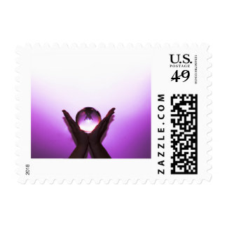 Postage Stamp Hands raised up surrounded by purple