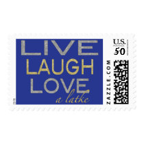 "Postage Stamp Hanukkah Blue/Gold ""Love a Latke"""