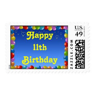 Postage Stamp Happy 11th Birthday Balloon Frame