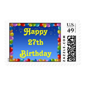 Postage Stamp Happy 27th Birthday Balloon Frame