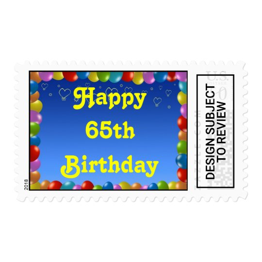 Postage Stamp Happy 65th Birthday Balloon Frame