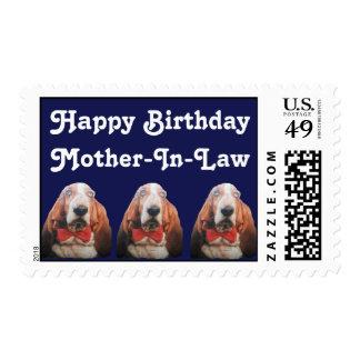 Postage Stamp Happy Birthday Basset Hounds