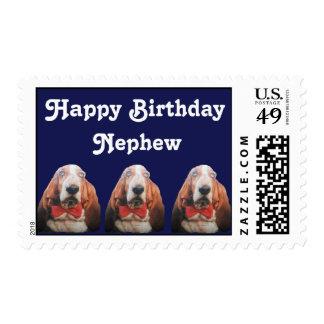 Postage Stamp Happy Birthday Basset Hounds Nephew
