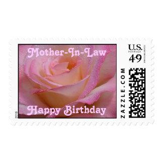 Postage Stamp Happy Birthday  Beautiful Pink Rose